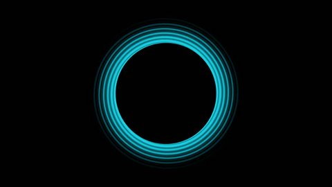 Glowing blue rings spiral fading from a black center circle with a black background in a CGI high definition motion video clip