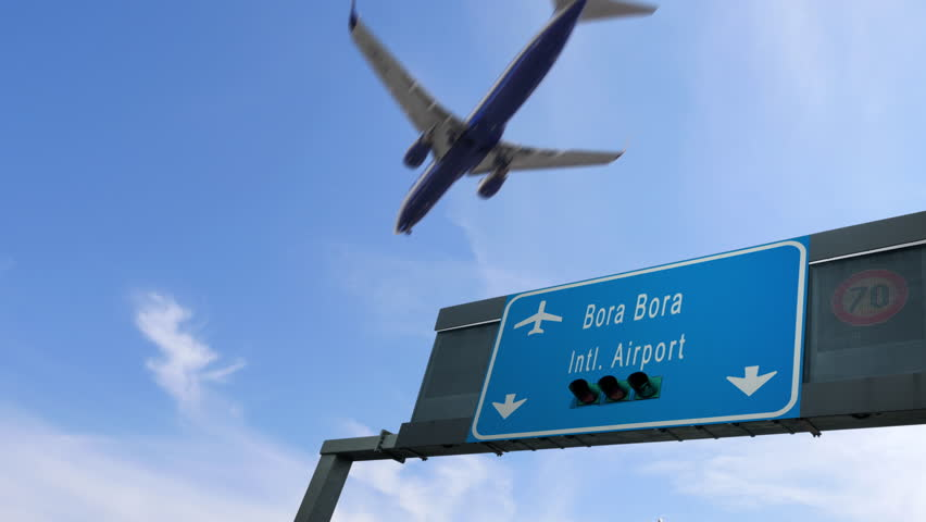 Airplane flying over bora bora airport signboard | Shutterstock HD Video #1018061131