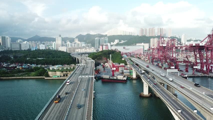 Aerial bird eye view Marine industry Container transport twilight  | Shutterstock HD Video #1018069351