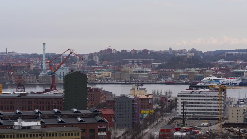 GOTHENBURG, SWEDEN - APRIL 14, 2018. Timelapse panorama view of Gothenburg skyline. 4K, 25p #1018081501