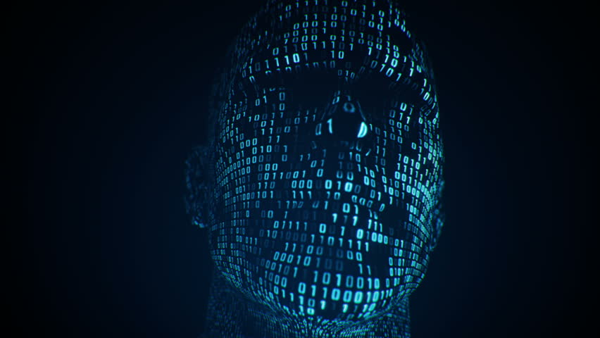 Abstract background with animation human head with surface from flickering binary digits of code. Animation of seamless loop.  | Shutterstock HD Video #1018084981