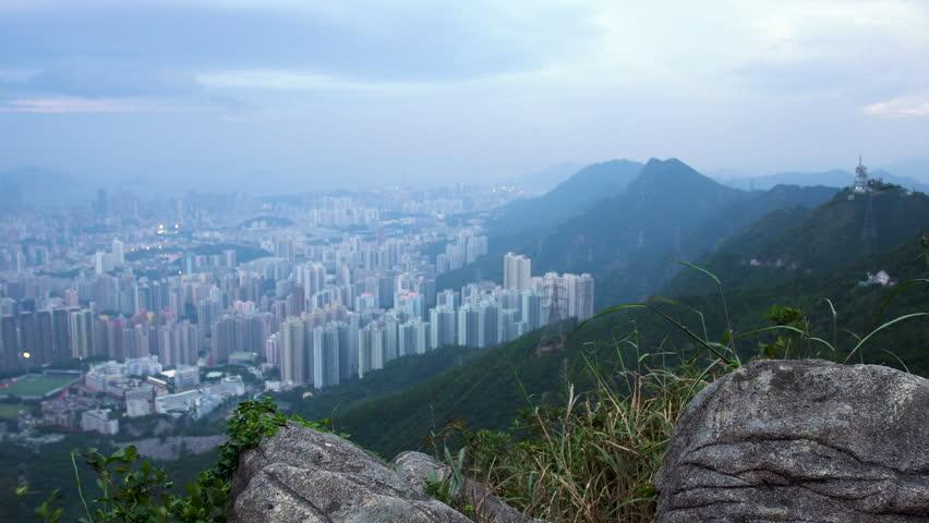 Hong Kong Skyline Kowloon from Fei Ngo Shan hill sunset | Shutterstock HD Video #1018104421