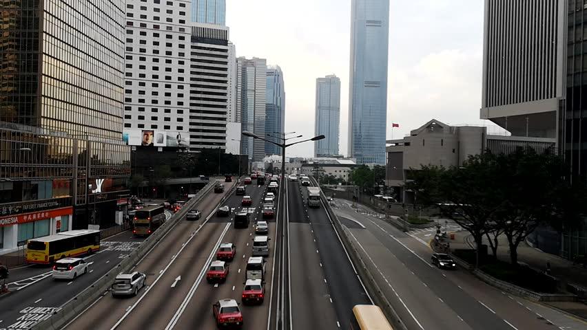 Footage Car light trails and urban landscape night traffic modern building in Hong Kong. | Shutterstock HD Video #1018119301