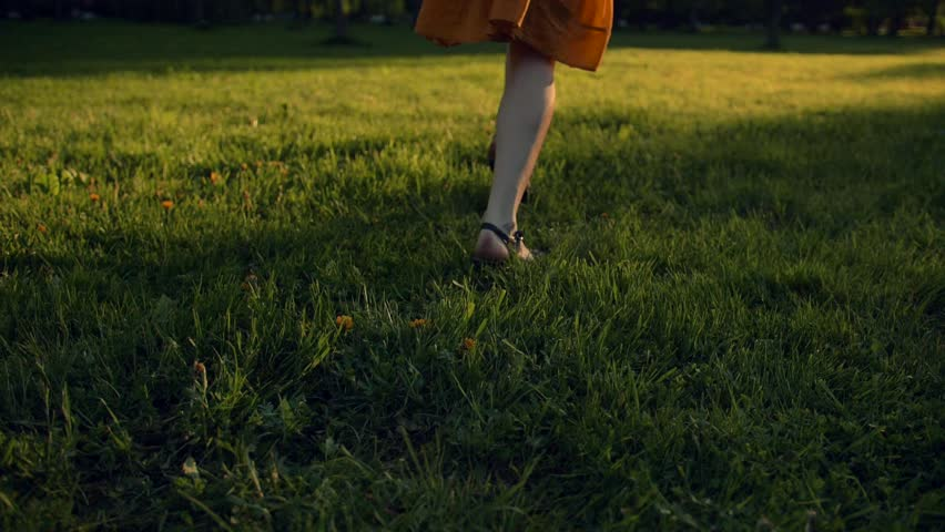 Happy young women running in park field, in green grass. Close up female crossed legs running on the grass. Super slow motion shot. | Shutterstock HD Video #1018147471