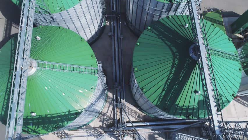 Flight over a modern granary. Aerial photography.