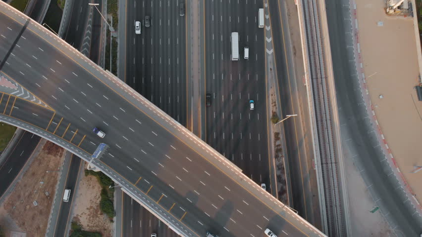 Beautiful view from the drone to the road junction in the Emirates | Shutterstock HD Video #1018194001