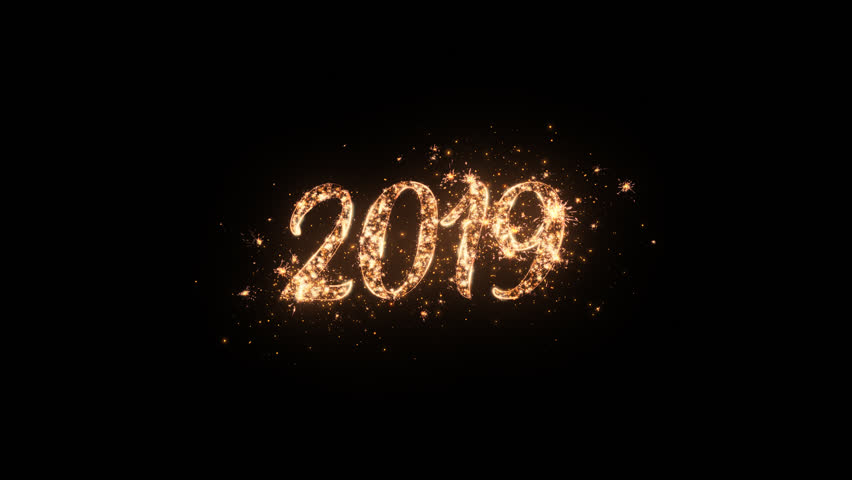 2019 Happy New Year greeting text with particles and sparks on black night sky with colored slow motion fireworks on background, beautiful typography magic design. | Shutterstock HD Video #1018222411