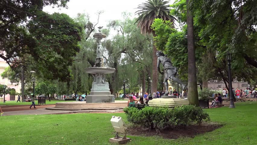 SALTA  - JANUARY 30: People in the park of Plaza 9 de Julio. Salta, Argentina January 30, 2018 in  Salta, Argentina