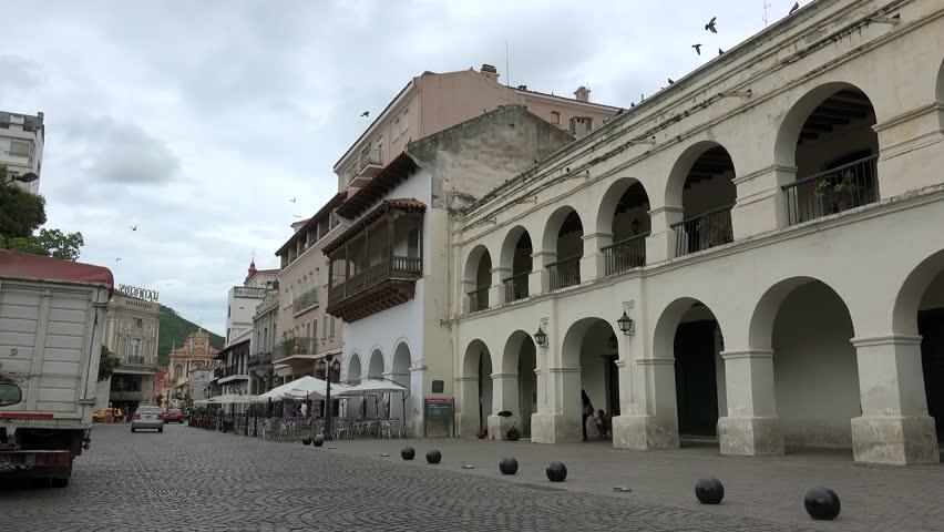 SALTA  - JANUARY 30: Colonial Cabildo at the  central Plaza 9 de Julio in Salta. January 30, 2018 in  Salta, Argentina