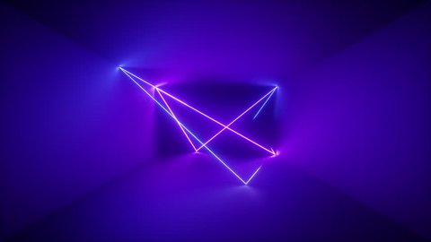 3d render, abstract background, neon rays inside dark box, tunnel, corridor, glowing lines, fluorescent ultraviolet light, blue red pink purple spectrum, looped, seamless animation
