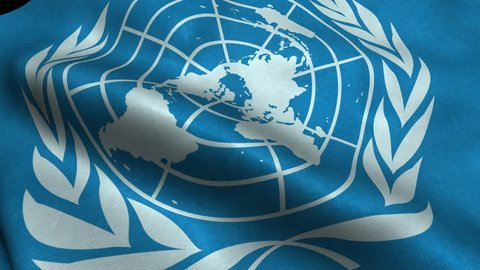 Photorealistic 4k Close up of un flag slow waving with visible wrinkles and realistic fabric. A fully digital rendering, 3D Animation. 15 seconds 4K, Ultra HD resolution un flag animation.