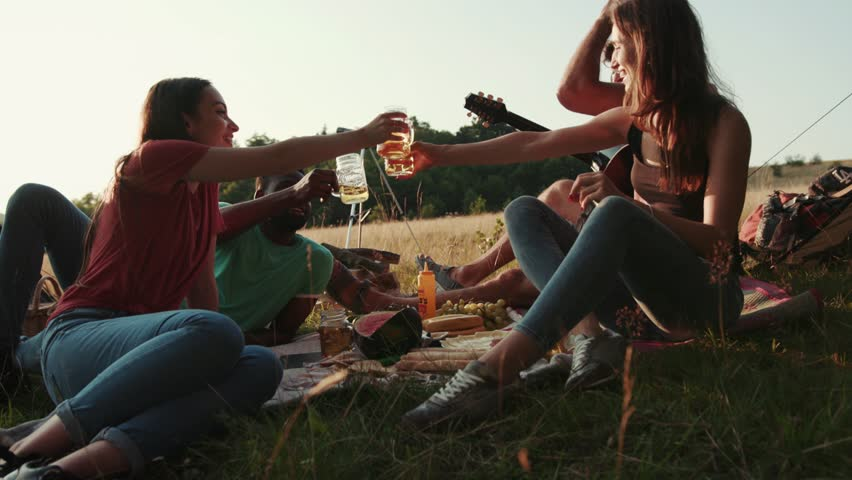 People cheering with drinks at outdoor picnic party. People's hands raising toast with glasses of beer, enjoying outdoor picnic in nature. Man playing the guitar. Summertime, chilling. True friends | Shutterstock HD Video #1018481791