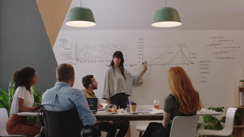 Diverse business people meeting in boardroom brainstorming team leader woman presenting financial graph data showing colleagues presentation working together in disabled friendly office | Shutterstock HD Video #1018498531