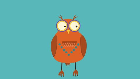 funny animation of dancing owl with big eyes