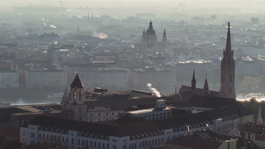 Aerial Shot of Budapest, Fisherman's Bastion, Parliament, Hungary | Shutterstock HD Video #1018543861