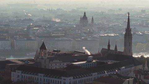 Aerial Shot of Budapest, Fisherman's Bastion, Parliament, Hungary