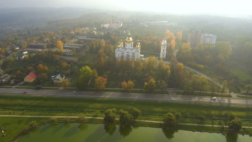 Aerial view from Drone: Beautiful view of the church in the sun. Autumn period. | Shutterstock HD Video #1018606021