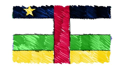stop motion marker drawn Central African Republic flag cartoon animation background new quality national patriotic colorful symbol video footage