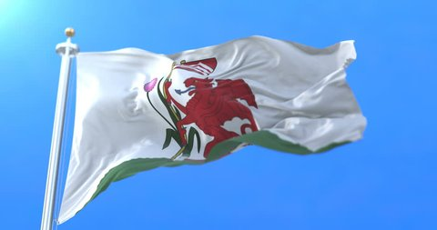 Flag of the welsh city of Cardiff in Wales. Loop
