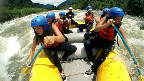 Group Of Adult Women'S Screaming And Yelling While Whitewater Rafting , Model Released Clip With Audio