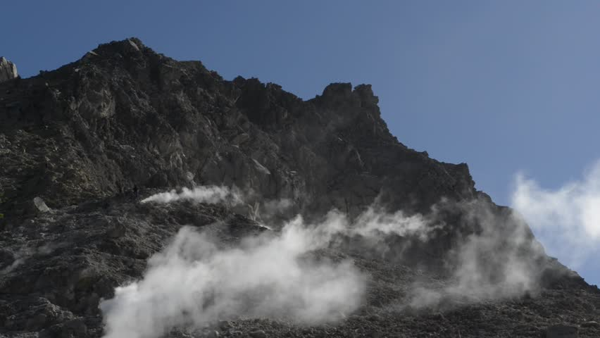 Volcanic pressure producing steam and sulfuric gas on Mount Sibayak sides. | Shutterstock HD Video #1018688431