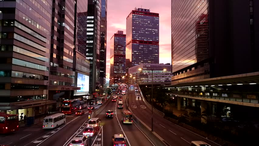 Transportation traffic in Hong Kong at twilight. | Shutterstock HD Video #1018736911