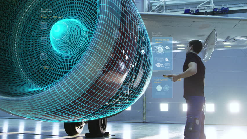 Concept of: Visualization Of Futuristic Airplane Engine Maintenance Conducted by Engineer Holding Tablet Computer. Animation of Digitalization of Analytics Checking Optimal Functioning of the Plane. | Shutterstock HD Video #1018788091