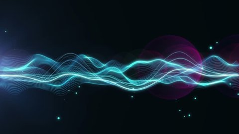 Abstract Energy Wave Field Background Loopable/ Abstract fractal light elegant field with particles and turbulence lines waving smoothly