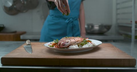 A chef's hand sprinkles herbs onto a plate of fish, rice and salad in a restaurant kitchen in slow motion. Closeup 4k Phantom Flex camera.
