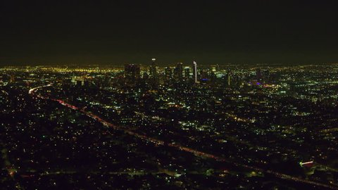 Aerial view of city on a clear night in Los Angeles, California. Shot on 4K RED camera.