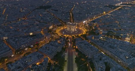 France Paris Aerial v58 Flying over Place Charles de Gaulle looking down at Arc de Triomphe to cityscape view 8/18