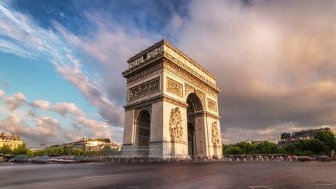 Beautiful sunset over Arc de Triomphe. Paris, France. Timelapse 4K shot