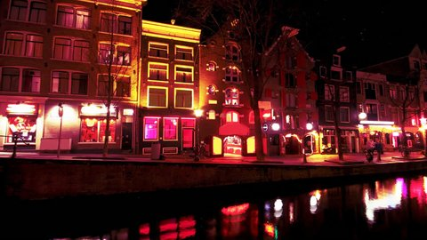 Red Light District in Amsterdam Netherlands at night