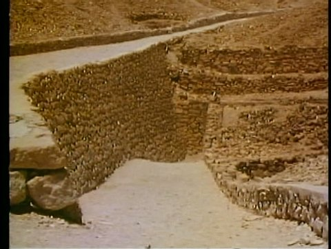 LUXOR, EGYPT, 1977, Valley of the Kings, a pathway to the entrance to the tombs