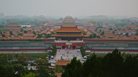 BEIJING, CHINA - OCTOBER 13TH, 2018: Steady shot of the gate of the forbidden city seen from the Jingshan Park on October 13, 2018 in Beijing, China