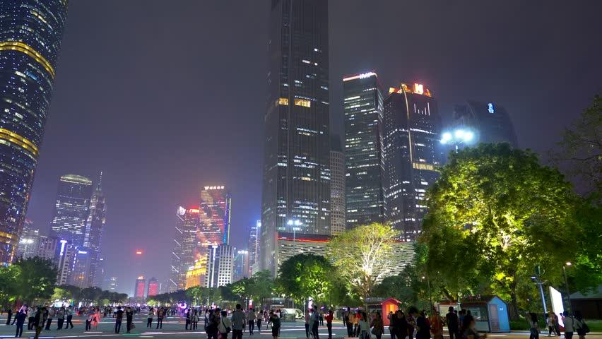 Panning shot of skyscrapers in the night Guangzhou, China. 4K, UHD | Shutterstock HD Video #1019200921