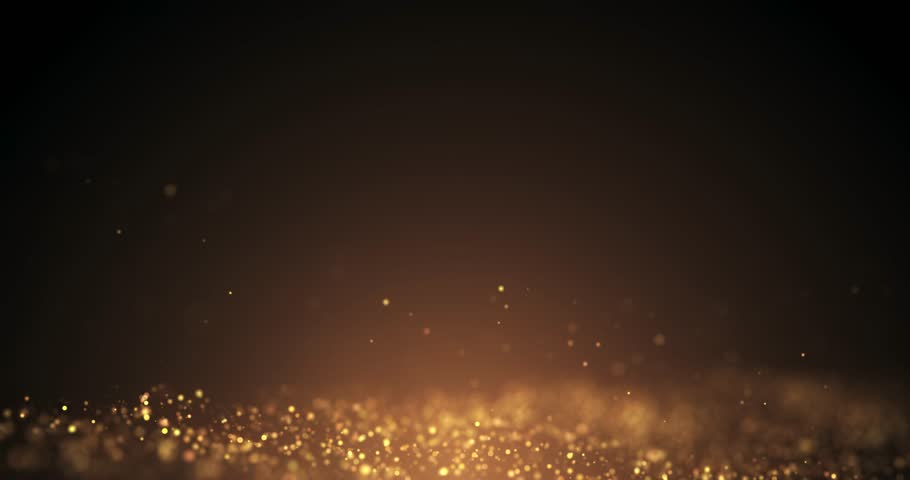 Gold Particles Moving Background.Particle from below. Particle gold dust flickering on black background. abstract Footage background for text. #1019239951