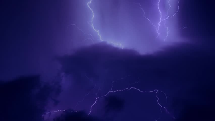 LIGHTNING BOLT STRIKE IN CLEAR BLUE SKY. Nature very nice panoramic view thunderstorm, after supercell weather. Real colours, NOT CG. Real footage. #1019255341