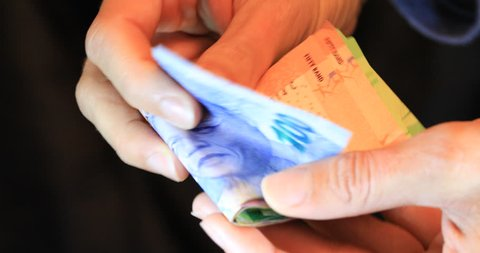 Counting South African money ZAR Rands
