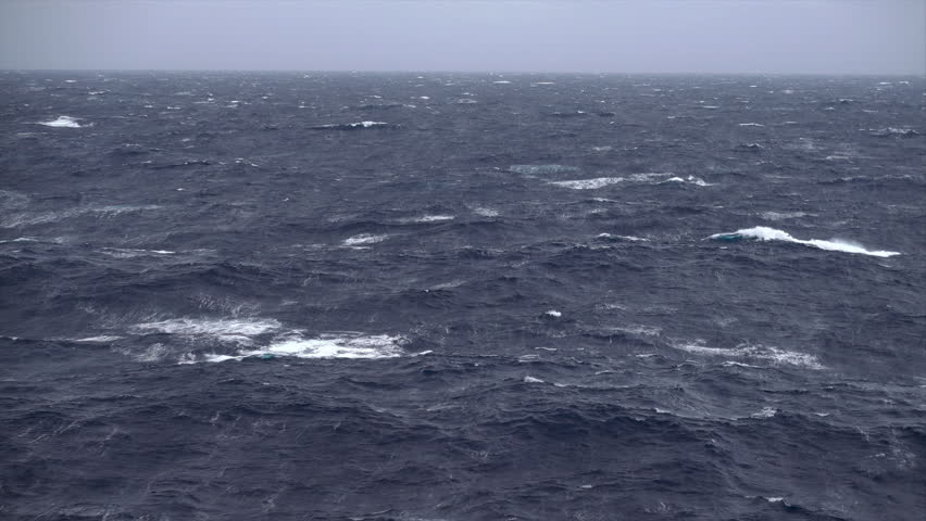 Stormy, windy weather and waves at sea with sky and horizon, Mediterranean | Shutterstock HD Video #1019324371
