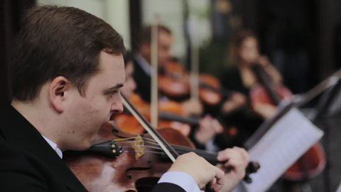 Musician playing violin outdoors. Violinist play music for the wedding. Violin under the open sky. Wedding music concept