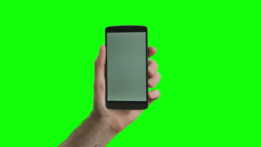 Hand holding the new smartphone on green screen. Extremely high quality. 4K resolution. The newest phone model. You can track it easily putting the trackers on the screen corners.  | Shutterstock HD Video #10193981