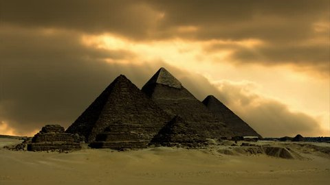 The Great Pyramids of Giza, near Cairo, Egypt, Golden Sunset Timelapse