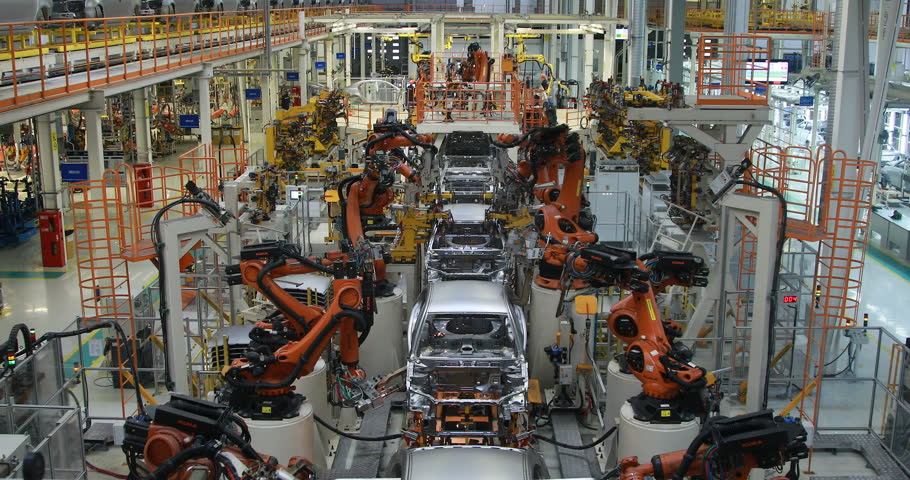 Borisov, Belarus - OCTOBER 31, 2018: Automobile plant. body of car on conveyor top view. Modern Assembly of cars at the plant. The automated build process of the car body