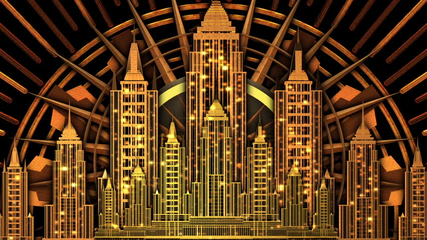 Art Deco golden symmetrical city skyline design | Shutterstock HD Video #1019430811