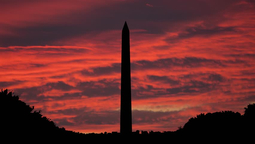 The Washington Monument, Washington, D.C., USA Capital, Sunset Timelapse | Shutterstock HD Video #1019456881