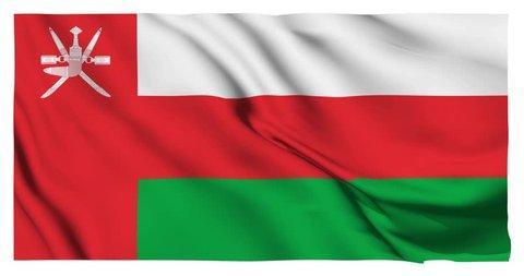 Flag of Oman waving on a loopable 4K animation over an easily keyable background.mp4