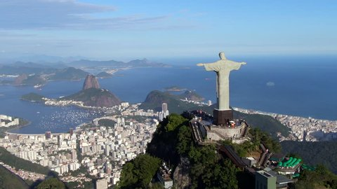 Rio de Janeiro, Brazil, aerial view of Rio cityscape including Christ the Redeemer statue and Sugarloaf Mountain.
