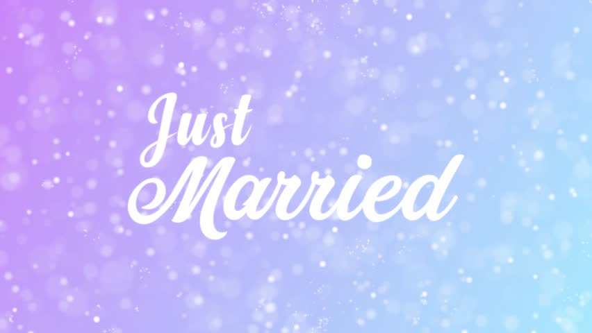 Just Married Greeting card text with beautiful snow and stars particles background for celebration, wishes, events, messages, holidays, festival.