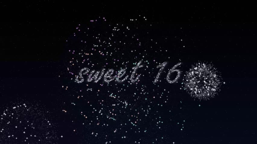 Shiny firework writing sweet 16 on the night sky animation.